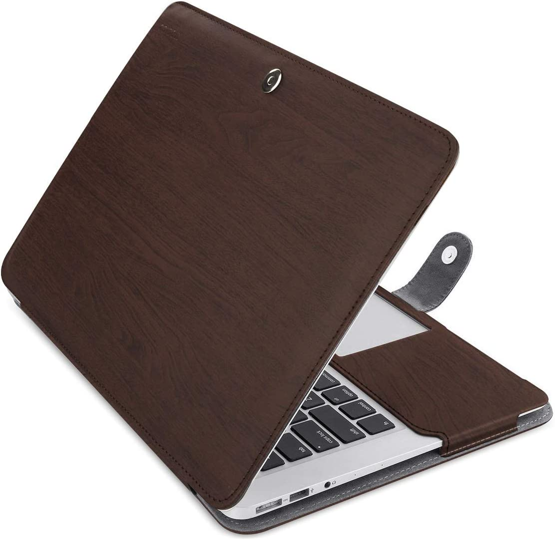 MOSISO Compatible with MacBook Air 13 inch A1466 / A1369 (Older Version Release 2010-2017), Premium PU Leather Book Folio Protective Stand Cover Sleeve, Wood Grain Deep Brown