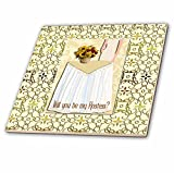 3dRose Beverly Turner Wedding Bridal Party Design - Hostess Request, Lady, Yellow Dress, Table, Vase of Sunflowers, Roses - 6 Inch Glass Tile (ct_282234_6)