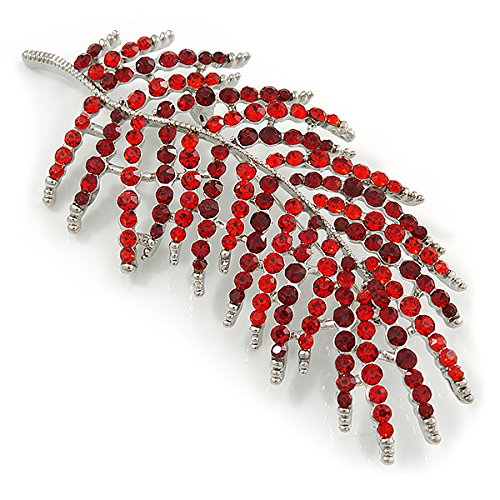 Avalaya Stunning Large Red/Burgundy Crystal Leaf Brooch In Silver Tone - 90mm