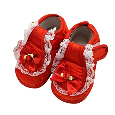 Ouneed® 0- 18 mois Bebe Naissance Dentelle Chaussures Premier Pas Velcro Tollder Shoes (10, Rouge)