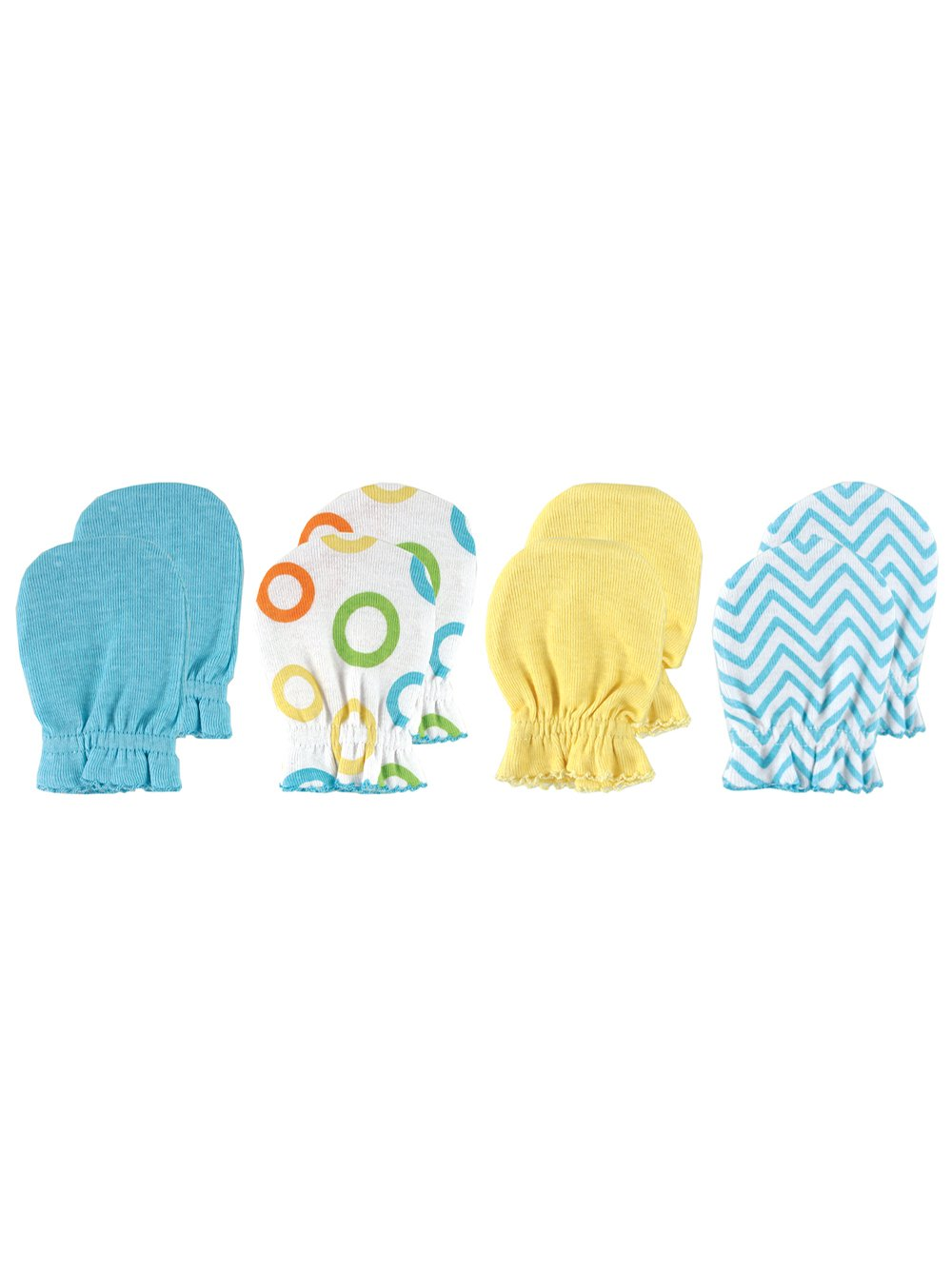 Luvable Friends 4-Pack Scratch Mitts - yellow, 0 - 3 months