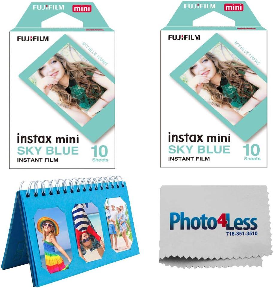 Fujifilm Instax Mini Sky Blue Instant Film X2 (20 Sheets) + Album for Fuji Instax Photos - Instant Film Bundle