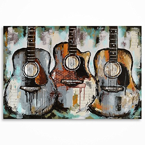 Acoustic guitar painting. Gift for a musician. Music Art. Guitar Art. Original large textured mixed media guitar painting on canvas by Magda Magier MADE TO ORDER