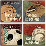 """VIIVEI Large Basketball Soccer Football Baseball Sports Canvas Wall Art Sports Lovers Bedroom Living Room Home Decor Decal Posters Pictures Paintings Boys Gift Framed Ready to Hang (20""""x20""""x4pcs, 1)"""