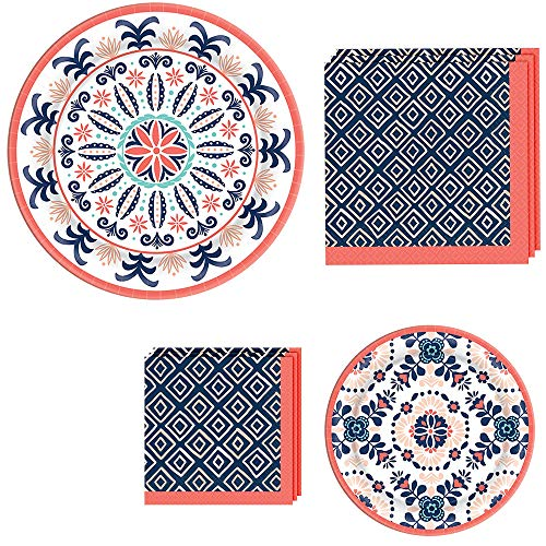 Amscan Pantone Living Coral Diamond and Tile Tableware Kit for 32 Guests