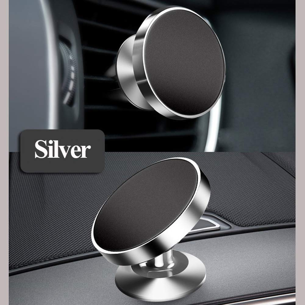 LucaSng Universal Magnetic Car Phone Holder, 2PCS Rotatable Car Phone Mounts for Dashboard and Air Conditioner Outlet (Silver)