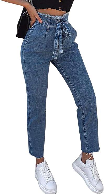 Zilcremo Pantalones Vaqueros De Talle Alto con Cinturón para ...