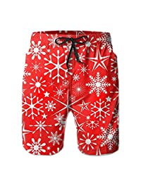 Merry Christmas Snowflake Men's Water Sports Beach Shorts
