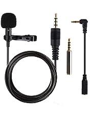 Micrófono de Solapa, omnidireccional lavalier Micrófono de condensador de 5.6pies Audio Cables para Grabación Entrevista / Videoconferencia / Podcast / Dicción de voz / Phone
