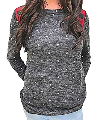Aolakeke Women Long Sleeve Tops Polka Dot Sweatshirt Elbow Patches Blouse Plaid Sweater T shirts