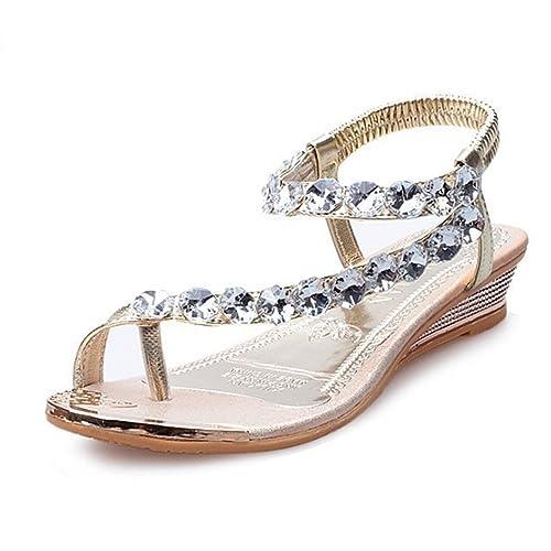 f169319a059bf WINZIK Flat Sandals Women Girls Summer Fashion Bohemia Bling Rhinestone  Beaded Clip Toe Flip Flops Beach