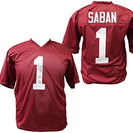 best value cf52f 42cce Nick Saban Alabama Crimson Tide Autographed Custom Jersey ...