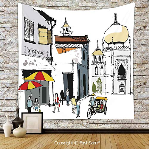 FashSam Hanging Tapestries Hand Drawn Illustration of Old Singapore Traditional Building People Umbrellas Travel Wall Blanket for Living Room Dorm Decor(W59xL78)