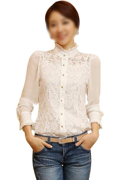 TOOGOO(R)Gasa de manga larga de senora se ve por vaporosa blusa beige
