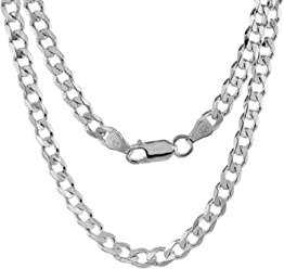 472c1f79222ecb Pori Jewelers Solid 925 Sterling Silver Cuban Chain Necklace - Made in  Italy - 2.8mm