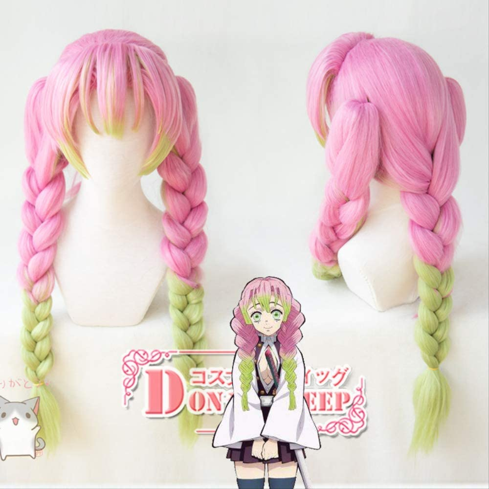 Anime Demon Slayer Kimetsu No Yaiba Kanroji Mitsuri Cosplay Wigs Long Pink Mix Green Braid Hair Free Wig Cap 80cm Amazon Co Uk Beauty A character in kimetsu no yaiba. anime demon slayer kimetsu no yaiba