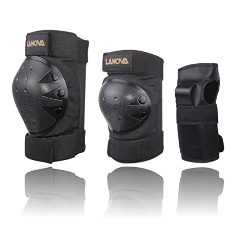 cc0e6e88e8121 Lanova Child Adult Knee Elbow Pads with Wrist Guards for Safety Protection  Scooter Skateboard Bicycle BMX Bike Inline Skating Rollerblading
