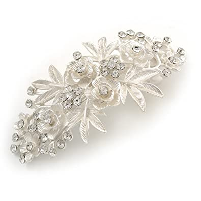 Avalaya Medium Silver Tone Filigree Diamante Floral Barrette Hair Clip Grip - 70mm Across DdQPmy2qjY