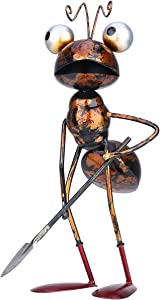 Tooarts Metal Ant Garden Decor Sculpture Home Patio Lawn Yard Indoor Outdoor Statue Ornament with Removable Bucket