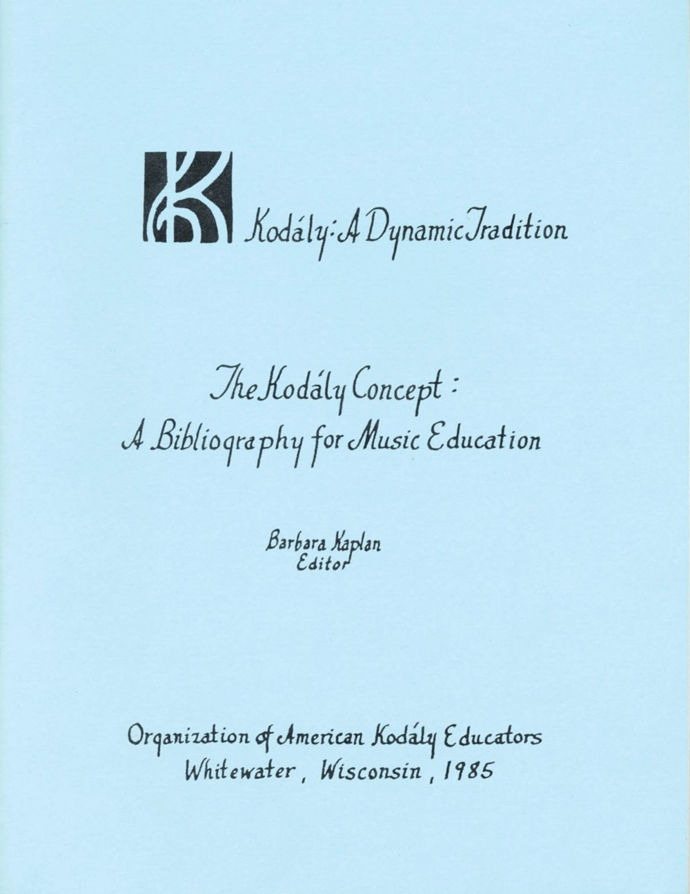 Boosey And Hawkes The Kodaly Concept A Bibliography For Music