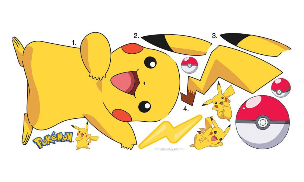 RoomMates RMK2536GM Pokemon Pikachu Peel and Stick Wall Decals ...