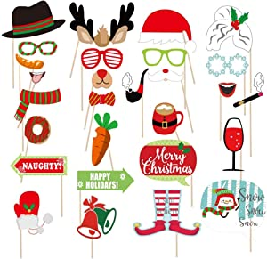 Christmas Photo Booth Props NO DIY, Beyondtrade 28 Pcs Kits Funny Xmas Selfie Props Accessories for Adults Kids for Christmas Theme Party Favors Decorations Decor Supplies
