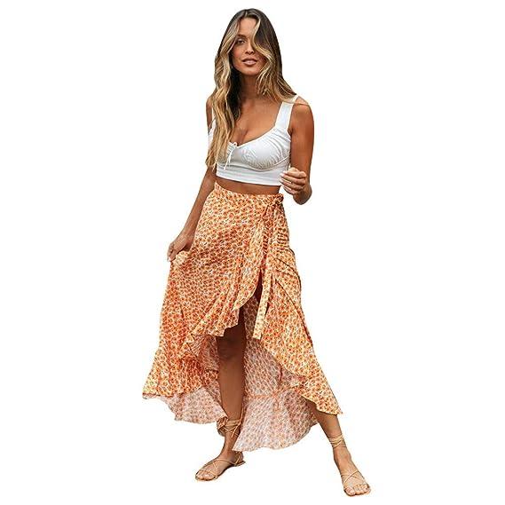 Vectry Faldas Mujer Moda para Mujer Cintura Alta Sexy Bohemia ...