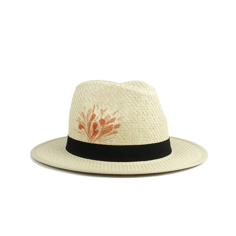 Straw Flower Jifnhtrs Sun Hat for Women 100% Hand Paint Summer Straw Beach Panama Hat Fashion Elegant Homburg Jazz Hat