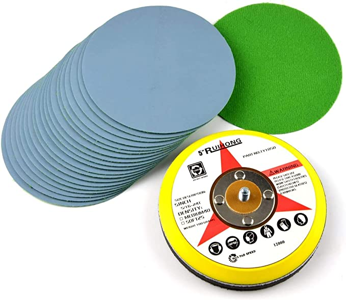 """1/"""" Wet Dry Sponge Sanding Disc Pad 300-3000 Coarse-Fine Grit Hook Loop Sandpaper"""
