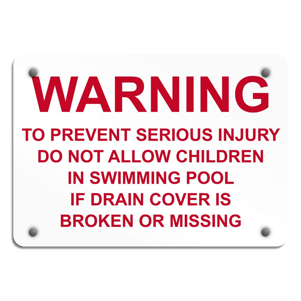 Warning Prevent Injury Allow Children Swimming Pool Aluminum Weatherproof Metal Sign Horizontal Street Signs 24INx18IN by Sign Destination