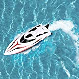 INTEY Remote Control Boat High Speed 2.4G RC Boats With 180º Flip Function, LCD Display, Double Hatch Waterproof Racing Boat for Pool & Outdoor Use