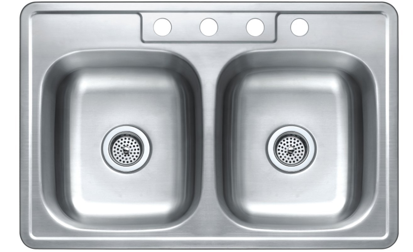 Winpro 33''x 22'' x 7'' Top Mount Double Bowl 304 Stainless Steel Kitchen Sink with 4 Faucet Holes by WinPro (Image #1)