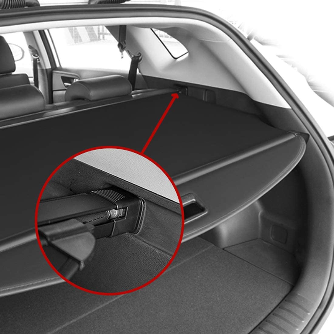 OREALTOOL Black Retractable Cargo Cover Luggage Shade Shield for Hyundai Tucson 2016 2017 2018 Rear Boot Trunk Parcel Load Shelf Shielding Security Panel Roller Blind