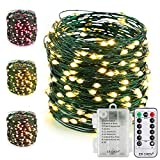 ER CHEN Fairy Lights with Remote, Battery Operated Green Copper Wire 66Ft 200 LED String Lights Color Changing 8 Modes Christmas Lights with Timer for Bedroom, Patio, Garden, Yard (Warm White&Pink)