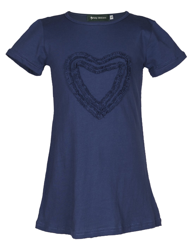 Girls' Ruffled Love Solid Cotton Dress (10, Indigo)