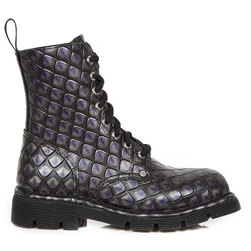 New Rock M.NEWMILI084-S52 Botas Botines Unisex Mujer Hombre Lila Morado Cuero Piel Tacón Punk Heavy Gotico Militares: Amazon.es: Zapatos y complementos