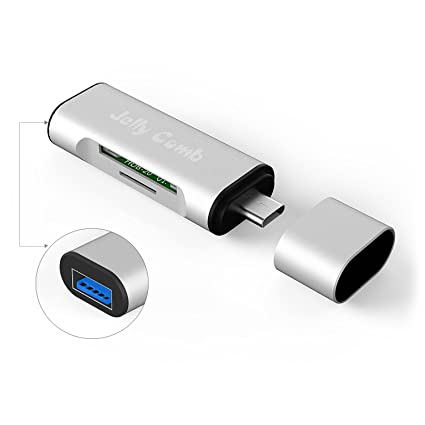 Jelly Comb Lector de Tarjetas USB-C, Lector de Tarjetas SD Micro SD con Adaptador USB 3.0 para Macbook y Más Dispositivos Tipo C y USB C OTG Teléfono ...