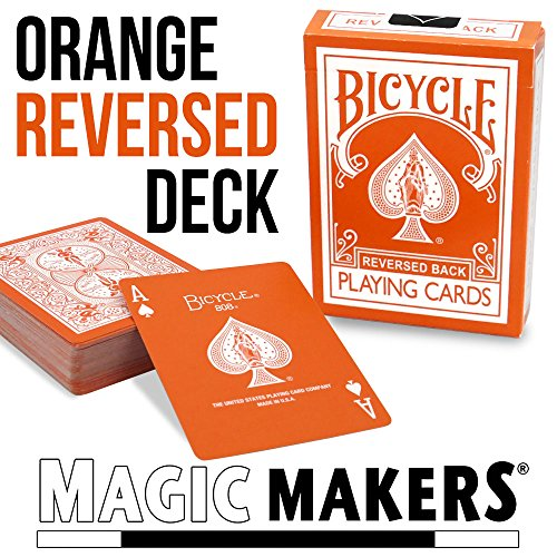 Magic Makers Orange Reversed Deck Bicycle Playing Cards – Includes Extra Magic Trick Cards