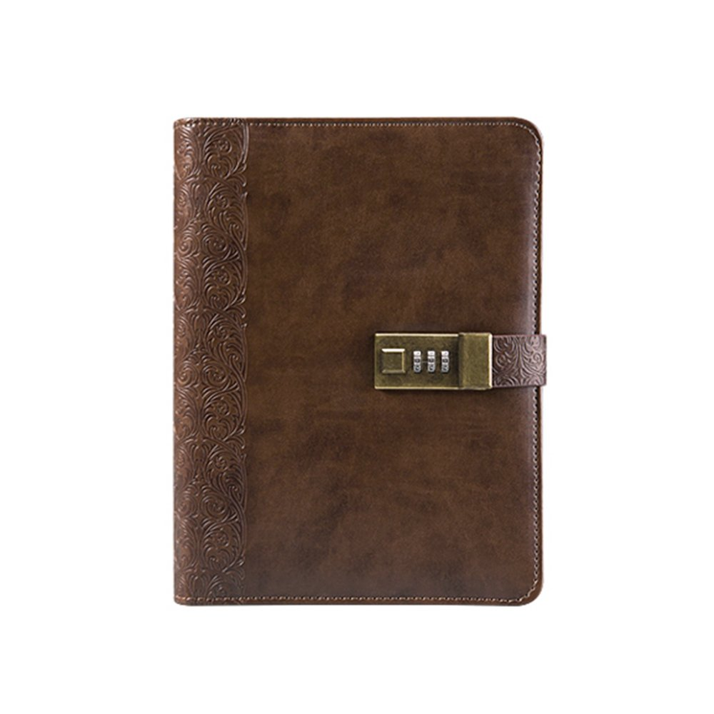Longpro Vintage European Style Retro PU Leather Writing Journal Notebook, A5 Size Refillable Loose Leaf Password Diary Notepad with Combination Lock, Card Slots, Pen Holder(Pen Included) (Brown)