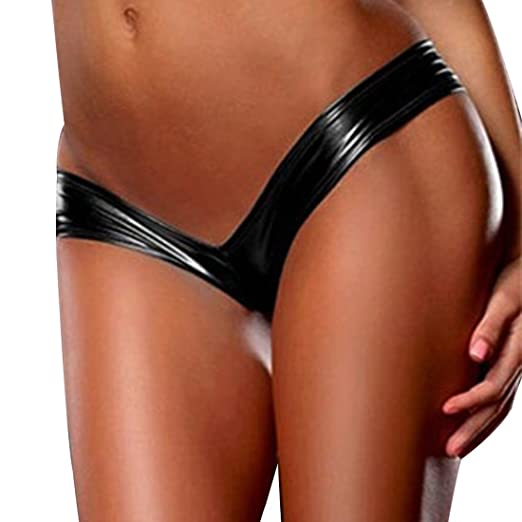 f4e35b8a2 Alvivi Sexy Women s Wet Look PVC Leather Metallic Micro G-String Thong  Booty Shorts Panties