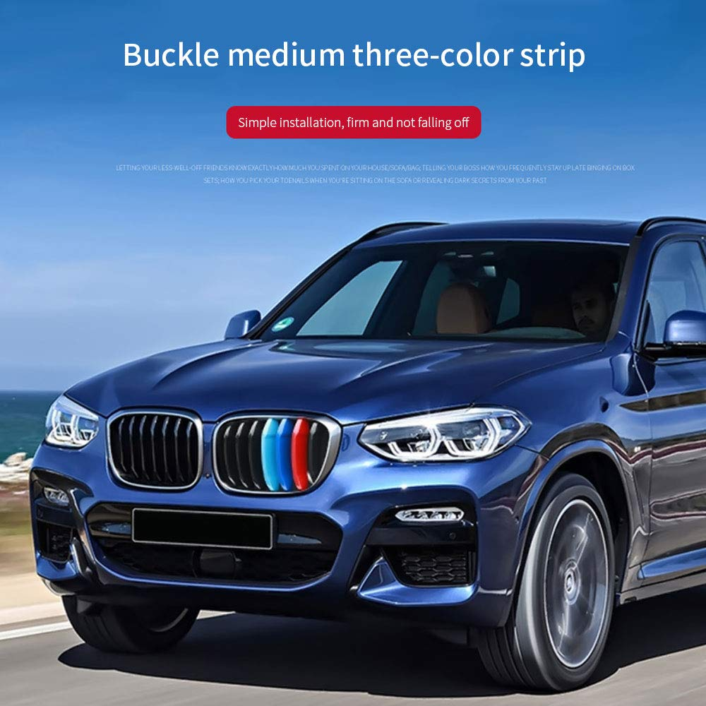 7 Grilles Maite 3D MotorSport Front Grille Trim Strips Grill Cover Decoration Stickers for BMW X3 G01 X4 G02 2018 M-Colored Grille Insert Trims