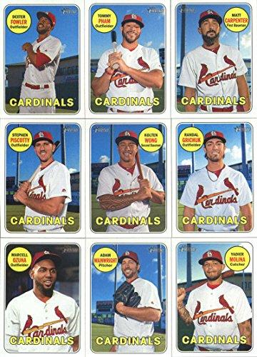 2018 Topps Heritage St. Louis Cardinals Team Set of 16 Cards: Alex Mejia/Sandy Alcantara(#14), Matt Carpenter(#18), Tommy Pham(#26), Dexter Fowler(#83), Stephen Piscotty(#116), Kolten Wong(#121), Randal Grichuk(#129), Harrison Bader/Jack Flaherty(#136), Marcell Ozuna(#170), Adam Wainwright(#195), Yadier Molina(#232), Luke Weaver(#253), Carlos Martinez(#265), Paul DeJong(#320), Jedd Gyorko(#333), Magneuris Sierra(#378), plus more (Louis Baseball St Cardinals Cards)