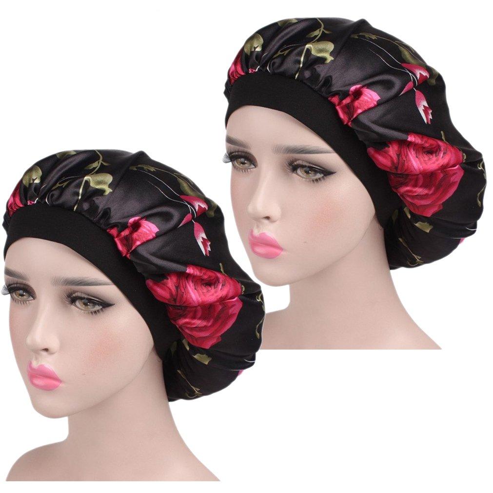 Satin Bonnet Sleep Cap for Women, Satin Sleeping Hat Head Cover Beanie for Long Hair Loss