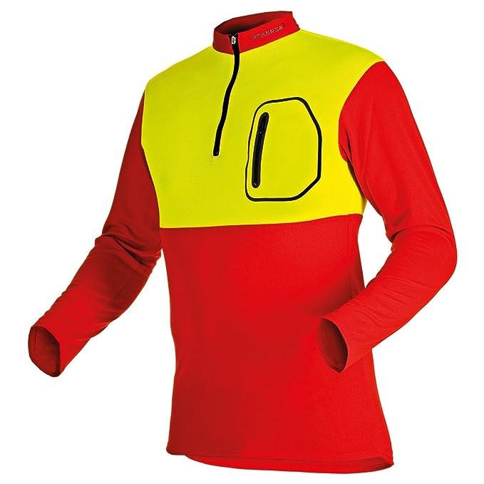 Pfanner Zipp-Neck Shirt langarm rot L neongelb Gr