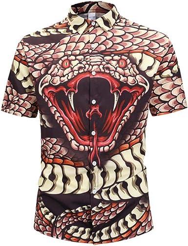 Camisa de Hombre Camisa de Manga Corta con Estampado de Cobra ...