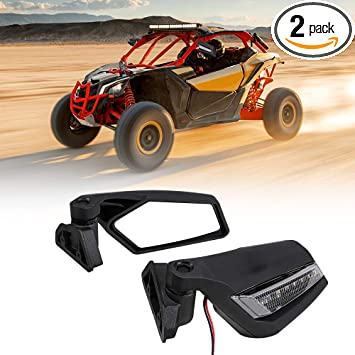 Maverick X3 Side Mirrors Rear View Mirror with LED Lights Compatible with Can Am Maverick X3 Max XRS XDS Turbo R RR 2017 2018 2019 2020 2021 Updated