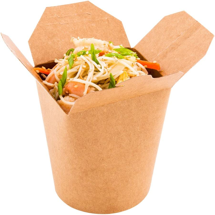 Bio Tek 16 Ounce Chinese Take Out Boxes, 200 Round Food To Go Boxes - Leak And Grease-Resistant, Tab-Lock, Kraft Paper Take Home Boxes, Stackable, Recyclable - Restaurantware