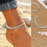 jindarat Sexy Women Silver Turquoise Charm Chain Barefoot Anklet Bracelet Foot Jewelry