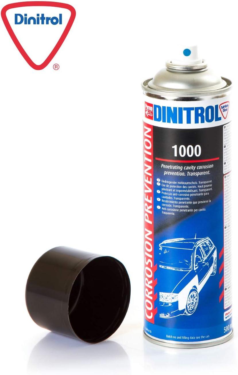 Dinitrol 1000 Transparente Durchdringende Hohlraum Wachs 500 Ml Aerosol Und 90 Mm Verlängerungs Strohhalm Auto
