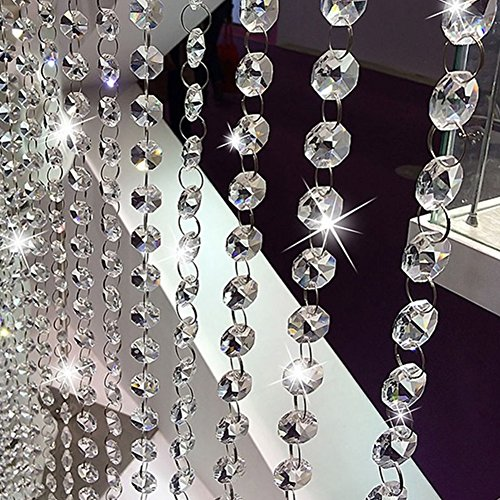 Glass Beaded Curtain - Silver Beaded Door Curtain Crystal Garland Glass Beads Chain String Curtain Panel For Door Living Room Wedding Decor